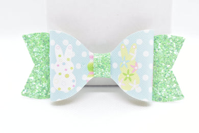 GREEN GLITTER AND BLUE EASTER BUNNIES FAUX LEATHER BOW - Handmade Creations by Liz