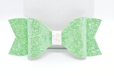 GREEN AND WHITE GLITTER FAUX LEATHER BOW - Handmade Creations by Liz