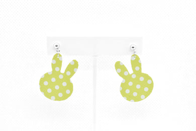 FAUX LEATHER EARRINGS - YELLOW BUNNY - Handmade Creations by Liz