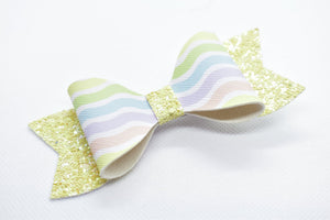 YELLOW GLITTER AND EASTER COLORS FAUX LEATHER BOW - Handmade Creations by Liz