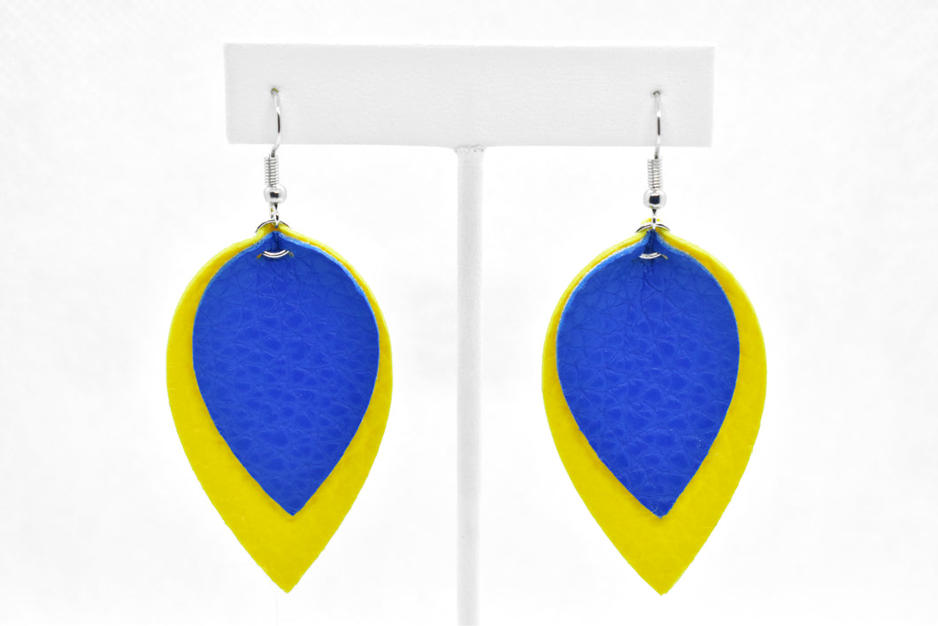 FAUX LEATHER EARRINGS - DOWN SYNDROME AWARENESS - Handmade Creations by Liz