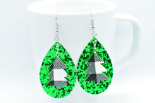 Load image into Gallery viewer, FAUX LEATHER EARRINGS - WHITE BUFFALO CHECK CHRISTMAS TREE CHARM AND GREEN GLITTER - Handmade Creations by Liz