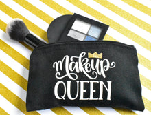"Load image into Gallery viewer, ""MAKEUP QUEEN"" CANVAS MAKEUP BAG - Handmade Creations by Liz"