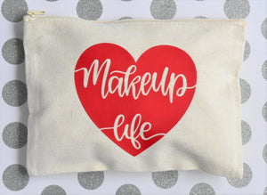 """MAKEUP LIFE"" CANVAS MAKEUP BAG - Handmade Creations by Liz"