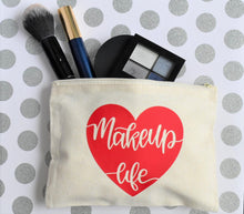 "Load image into Gallery viewer, ""MAKEUP LIFE"" CANVAS MAKEUP BAG - Handmade Creations by Liz"