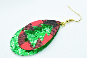 FAUX LEATHER EARRINGS - RED BUFFALO CHECK CHRISTMAS TREE AND GREEN GLITTER - Handmade Creations by Liz