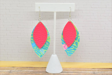 PINK AND SUMMER PLANTS PATTERN FAUX LEATHER EARRINGS - LEAF - Handmade Creations by Liz
