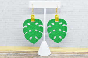 GREEN AND GOLD GLITTER FAUX LEATHER EARRING - TROPICAL LEAF - Handmade Creations by Liz