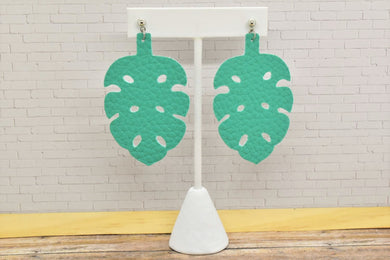 TEAL FAUX LEATHER EARRING - TROPICAL LEAF - Handmade Creations by Liz