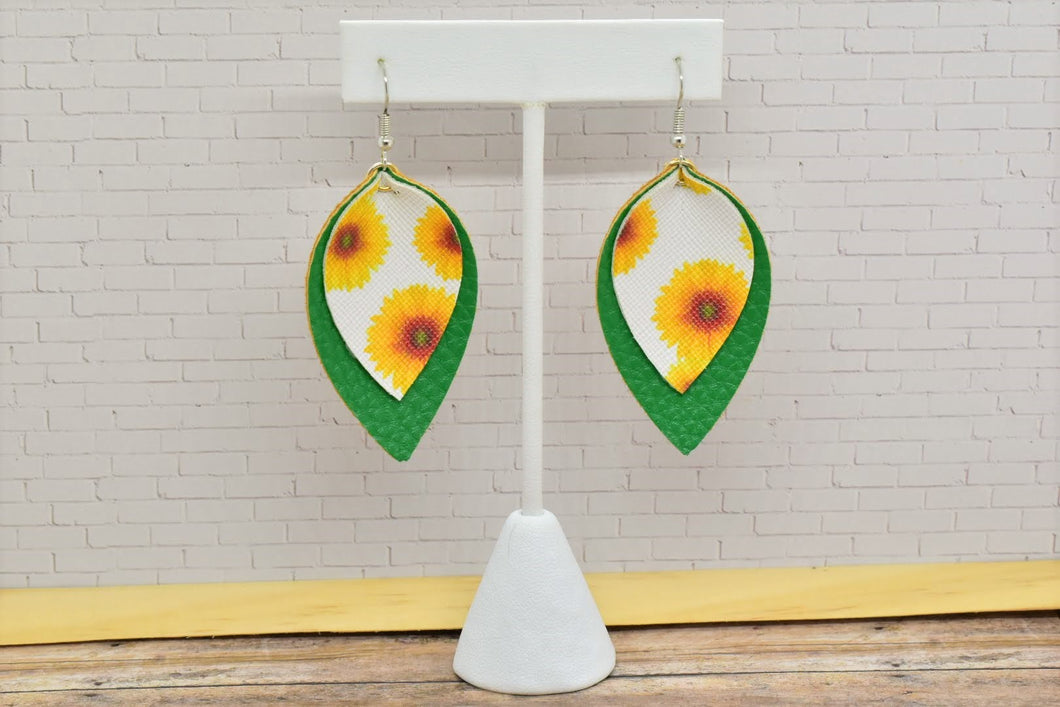 WHITE WITH SUNFLOWERS AND GREEN FAUX LEATHER EARRINGS - MAGNOLIA - Handmade Creations by Liz