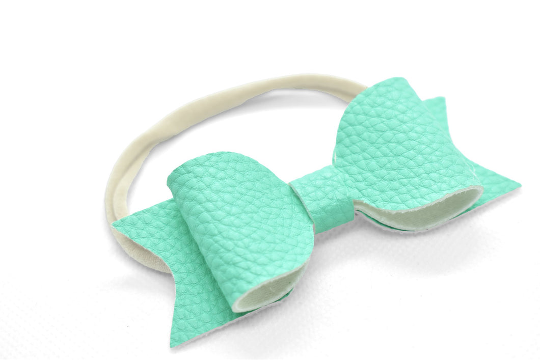 BABY HEADBAND - FAUX LEATHER BOW - Handmade Creations by Liz