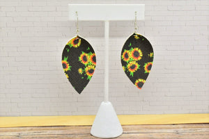 BLACK WITH SUNFLOWERS FAUX LEATHER EARRINGS - MAGNOLIA - Handmade Creations by Liz