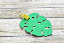 Load image into Gallery viewer, GREEN AND GOLD GLITTER FAUX LEATHER EARRING - TROPICAL LEAF - Handmade Creations by Liz