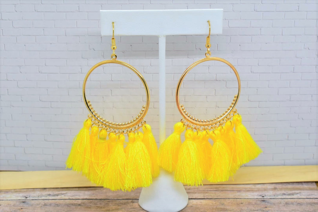 YELLOW TASSEL HOOP EARRINGS - Handmade Creations by Liz