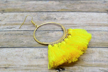 Load image into Gallery viewer, YELLOW TASSEL HOOP EARRINGS - Handmade Creations by Liz