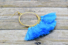 Load image into Gallery viewer, LIGHT BLUE TASSEL HOOP EARRINGS - Handmade Creations by Liz