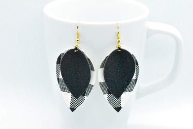 BLACK SHIMMER AND WHITE BUFFALO CHECK FAUX LEATHER EARRINGS - MAGNOLIA - Handmade Creations by Liz