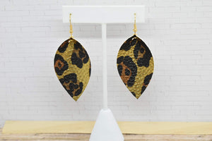 FAUX LEATHER PETAL EARRINGS - GOLD LEOPARD PRINT - Handmade Creations by Liz