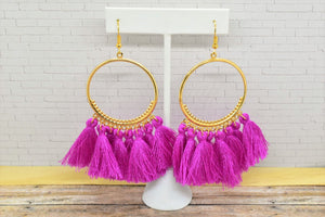 PURPLE TASSEL HOOP EARRINGS - Handmade Creations by Liz