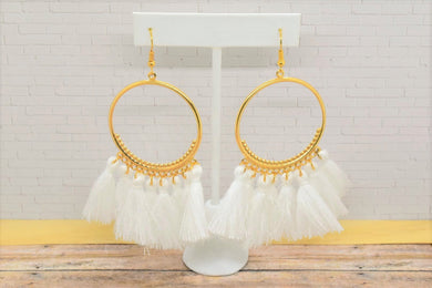 WHITE TASSEL HOOP EARRINGS - Handmade Creations by Liz