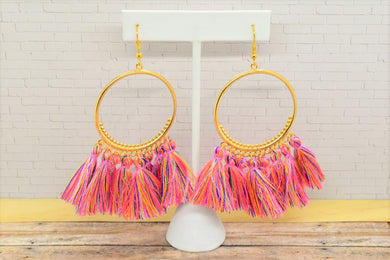 PINK COLORS TASSEL HOOP EARRINGS - Handmade Creations by Liz