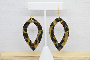 GOLD LEOPARD PRINT FAUX LEATHER EARRINGS - LEAF