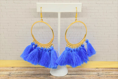 BLUE TASSEL HOOP EARRINGS - Handmade Creations by Liz