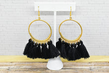 Load image into Gallery viewer, BLACK TASSEL HOOP EARRINGS - Handmade Creations by Liz