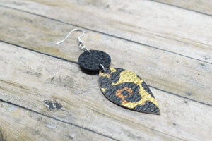 LEOPARD PRINT AND BLACK FAUX LEATHER EARRINGS - DANGLE