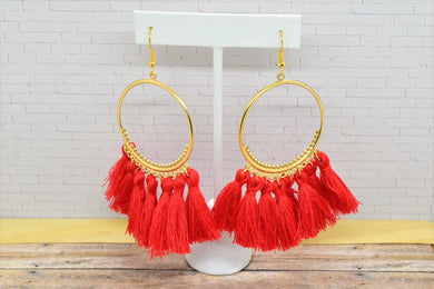 RED TASSEL HOOP EARRINGS - Handmade Creations by Liz