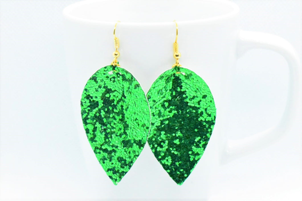FAUX LEATHER PETAL EARRINGS - GREEN GLITTER - Handmade Creations by Liz