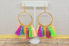 Load image into Gallery viewer, RAINBOW COLORS TASSEL HOOP EARRINGS - Handmade Creations by Liz