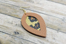 Load image into Gallery viewer, LIGHT BROWN AND GOLD LEOPARD PRINT FAUX LEATHER EARRINGS - LEAF