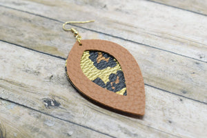 LIGHT BROWN AND GOLD LEOPARD PRINT FAUX LEATHER EARRINGS - LEAF