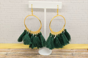 GREEN TASSEL HOOP EARRINGS - Handmade Creations by Liz