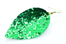Load image into Gallery viewer, FAUX LEATHER PETAL EARRINGS - GREEN GLITTER - Handmade Creations by Liz