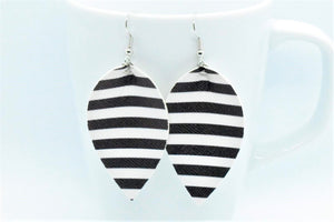 FAUX LEATHER PETAL EARRINGS - BLACK AND WHITE STRIPES - Handmade Creations by Liz