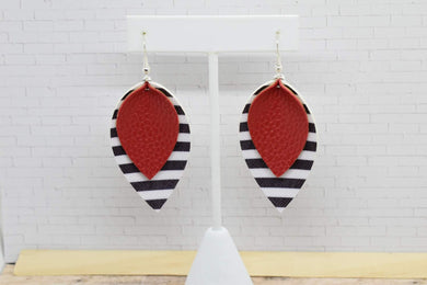 RED WITH BLACK AND WHITE STRIPES FAUX LEATHER EARRINGS - MAGNOLIA