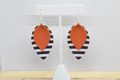 ORANGE WITH BLACK AND WHITE STRIPES FAUX LEATHER EARRINGS - MAGNOLIA