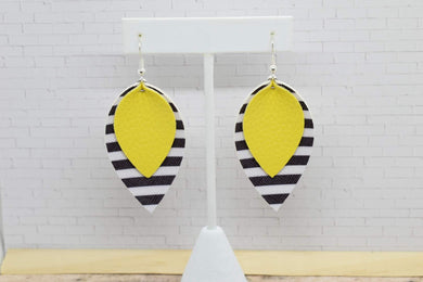 YELLOW WITH BLACK AND WHITE STRIPES FAUX LEATHER EARRINGS - MAGNOLIA