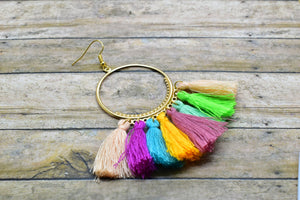RAINBOW COLORS TASSEL HOOP EARRINGS - Handmade Creations by Liz