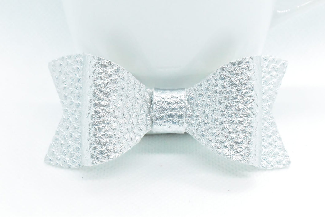 SILVER MATTE FAUX LEATHER BOW - Handmade Creations by Liz