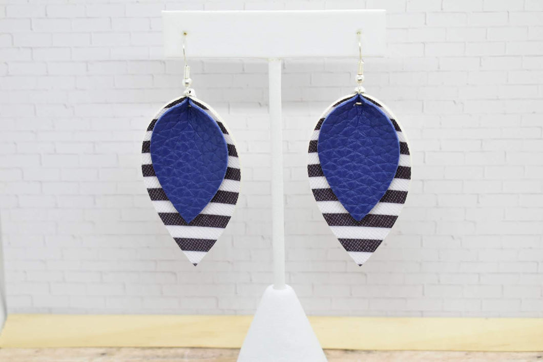 ROYAL BLUE WITH BLACK AND WHITE STRIPES FAUX LEATHER EARRINGS - MAGNOLIA