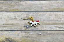 Load image into Gallery viewer, RED UNICORN METAL CHARM EARRINGS - Handmade Creations by Liz