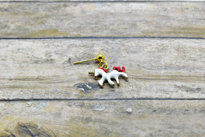 RED UNICORN METAL CHARM EARRINGS - Handmade Creations by Liz