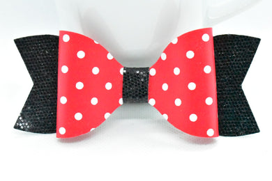 RED AND WHITE WITH POLKA DOTS AND BLACK GLITTER FAUX LEATHER BOW - Handmade Creations by Liz