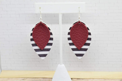 BURGUNDY WITH BLACK AND WHITE STRIPES FAUX LEATHER EARRINGS - MAGNOLIA