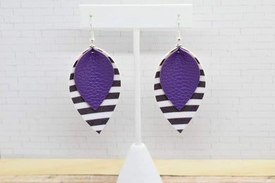 PURPLE WITH BLACK AND WHITE STRIPES FAUX LEATHER EARRINGS - MAGNOLIA