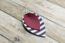 Load image into Gallery viewer, BURGUNDY WITH BLACK AND WHITE STRIPES FAUX LEATHER EARRINGS - MAGNOLIA
