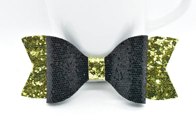 BLACK HONEYCOMB GLITTER AND GOLD FAUX LEATHER BOW - Handmade Creations by Liz